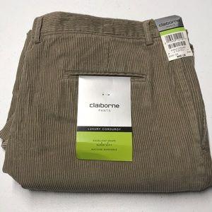 🆕 CLAIBORNE Mens 40 x 30 Khaki Tan Corduroy Pants
